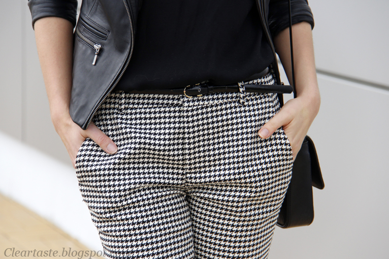 zara checkered print trousers
