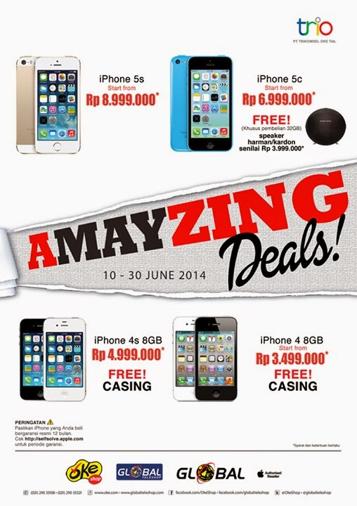 iPhone 4 8 GB Rp 3.499.000, iPhone 4S 8 GB Rp 4.999.000, iPhone 5c 16 GB Rp 6.999.000 dan iPhone 5s 16 GB Rp 8.999.000