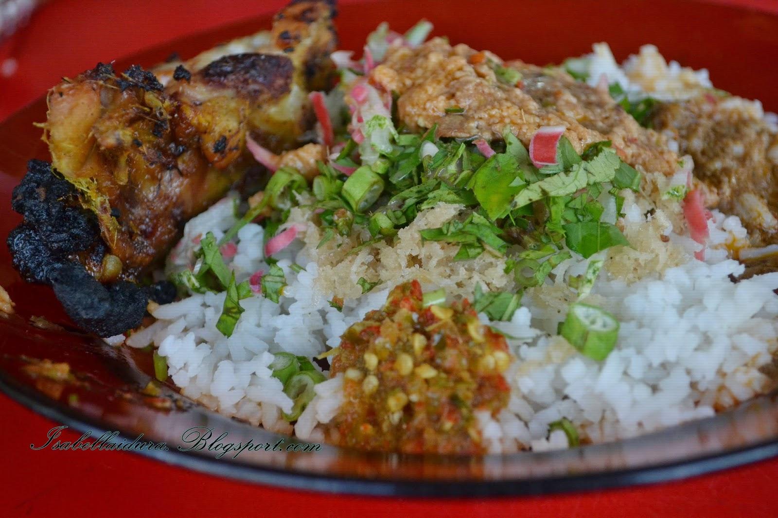 nasi, kerabu, ayam bakar