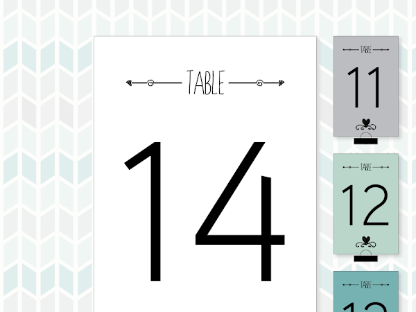 Free Printable Modern Bridal Shower Table Numbers