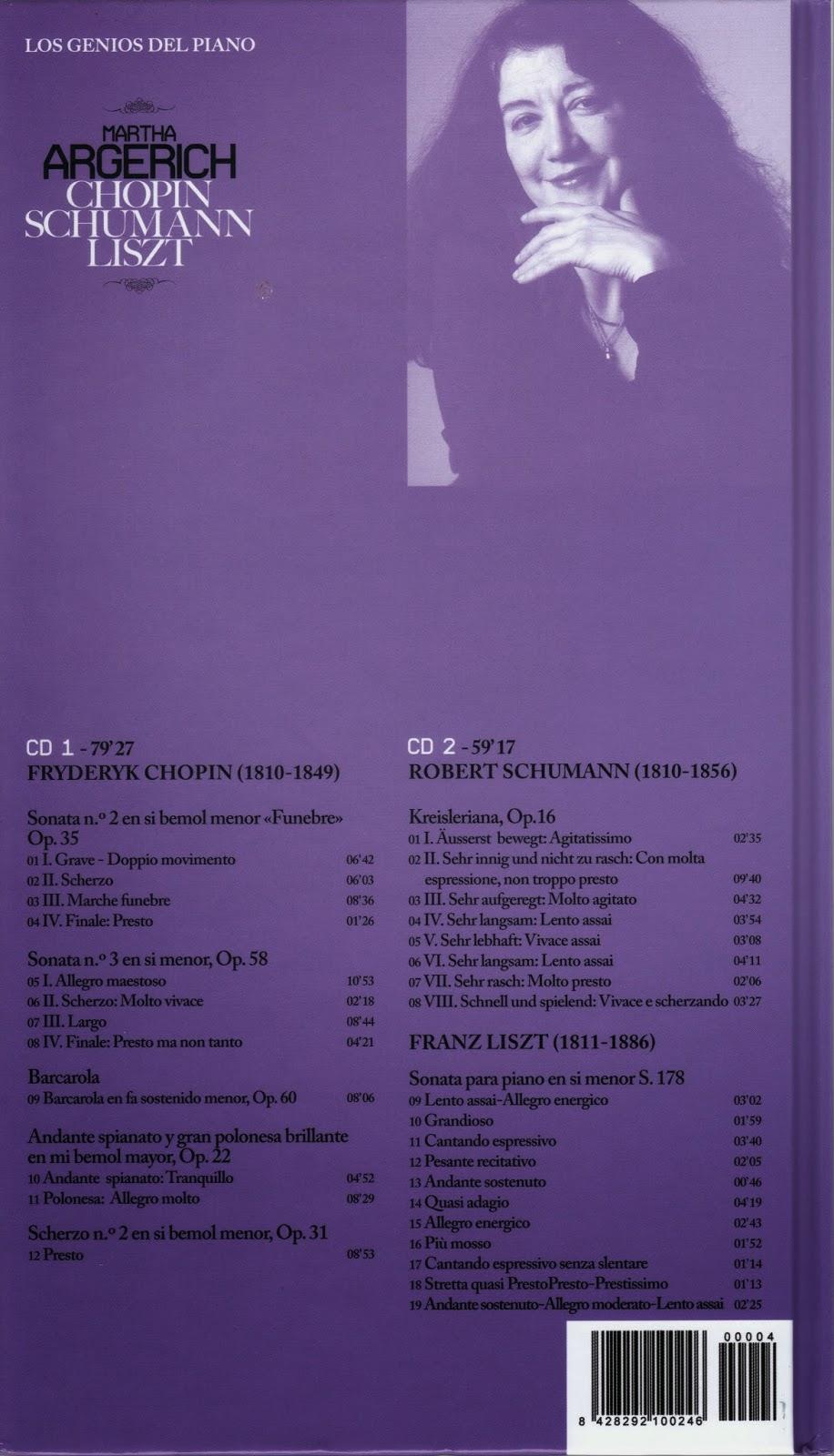 Imagen de Colección Los Genios del Piano-04-Marta Argerich & Chopin, Schumann y Liszt-trasera