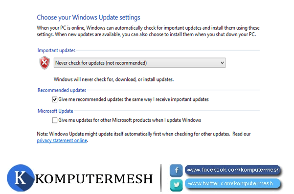 Cara Menonaktifkan (Disable) Windows Update di Windows 8