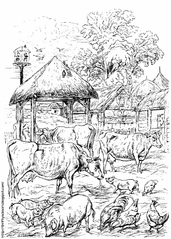 Color This Barnyard Scene by Kate Greenway   Thrifty Scissors
