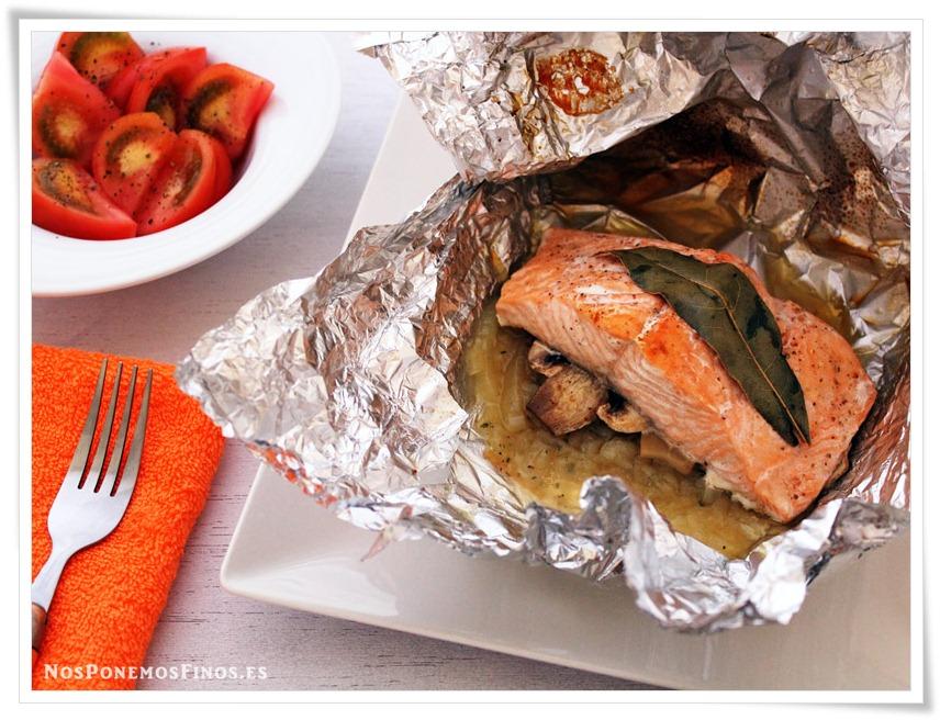 Nos ponemos finos papillote de salm n con champi ones - Salmon con champinones ...