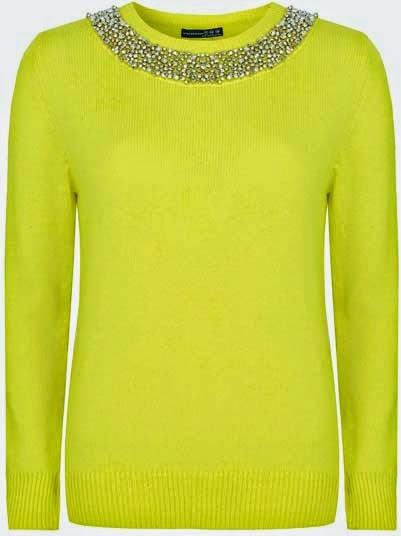 Primark online: jersey amarillo con pedrería