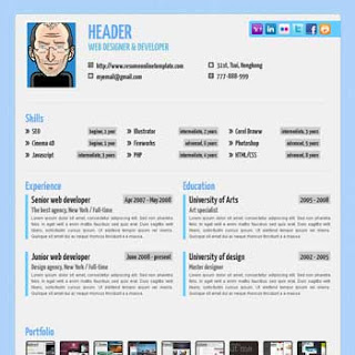Blue Paper Blogger Template
