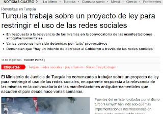 """Noticia: """"Turquía plantea leyes para restringir el uso de las redes sociales"""" - Fuente: www.cuatro.com [Martes, 18 de Junio de 2013]"""