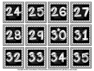 بطاقات الأرقام الإنكليزية نسخة أبيض وأسود English numbers black and white