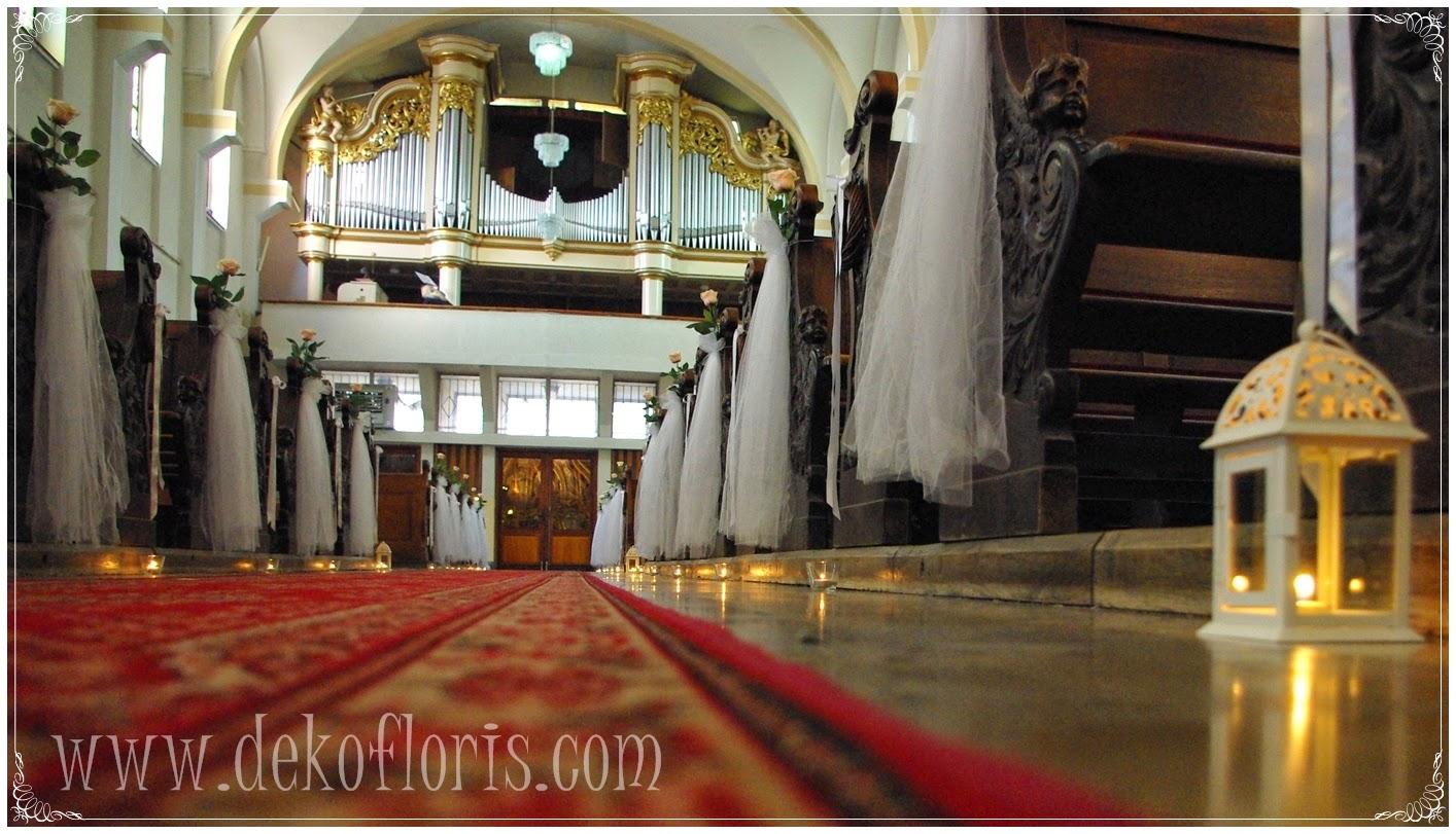 dekoracja slubna kościoła Opole Jezuici, róże