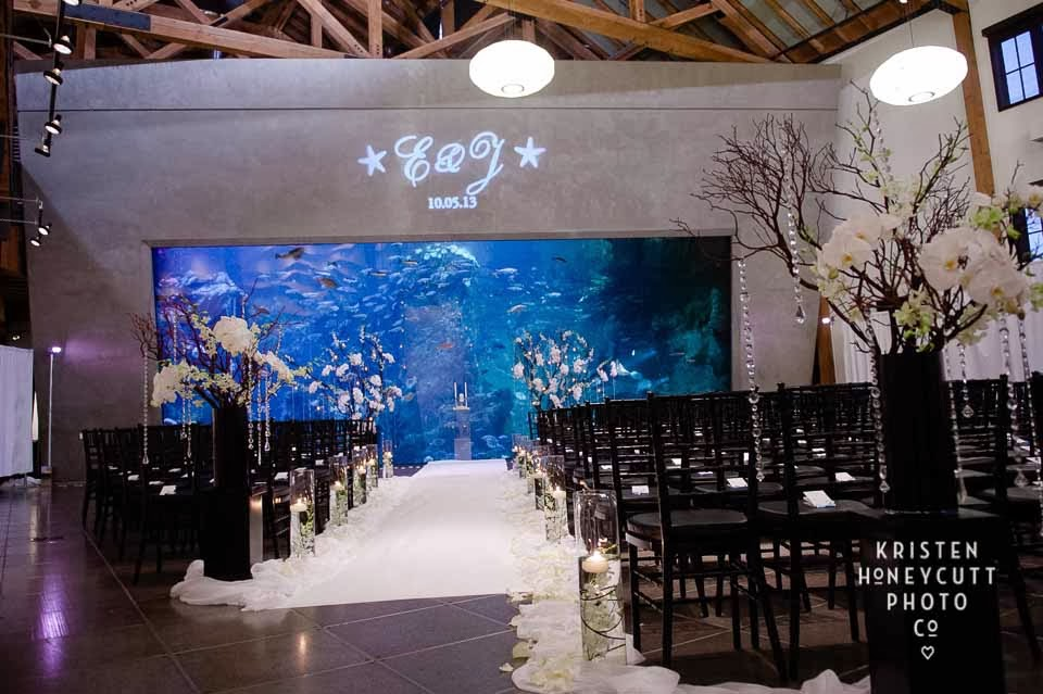 Seattle Aquarium Wedding, black and white wedding