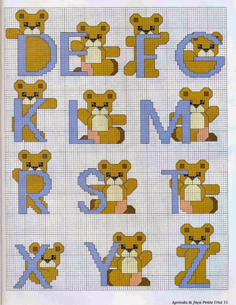 Meus gr ficos de ponto cruz enxoval do beb monogramas for Schemi punto croce bavaglini bimba