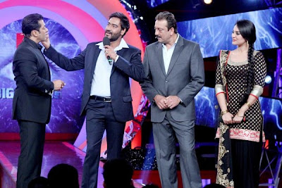 Sonakshi Sinha wearing black salwar kameez on the set of Big Boss 6