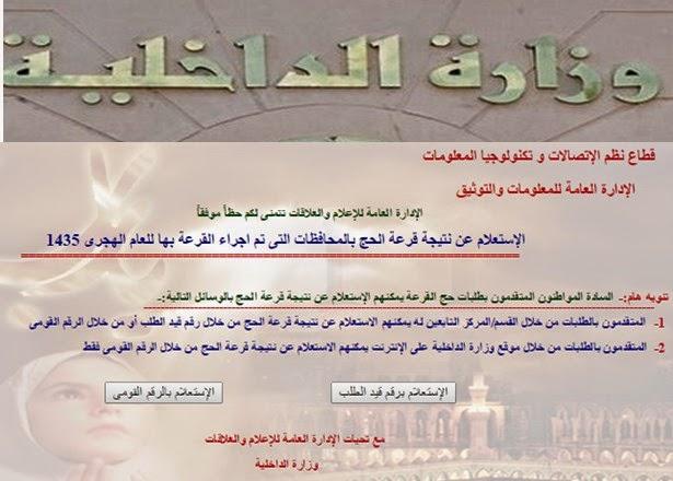 نتيجة قرعة الحج لعام جميع المحافظات 2015 - الاستعلام عن اسماء الفائزين بقرعة الحج / وزارة الداخيلية
