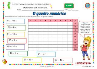atividades de matemática 4 ano