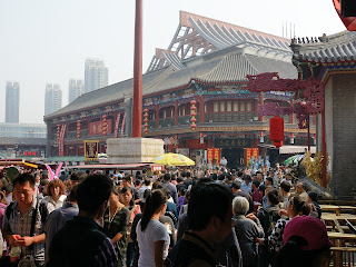 Crowds at Tianjin Ancient Culture Street during National Day holiday