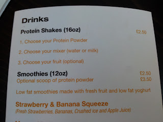 The drinks menu at Gyms Kitchen, Leyton