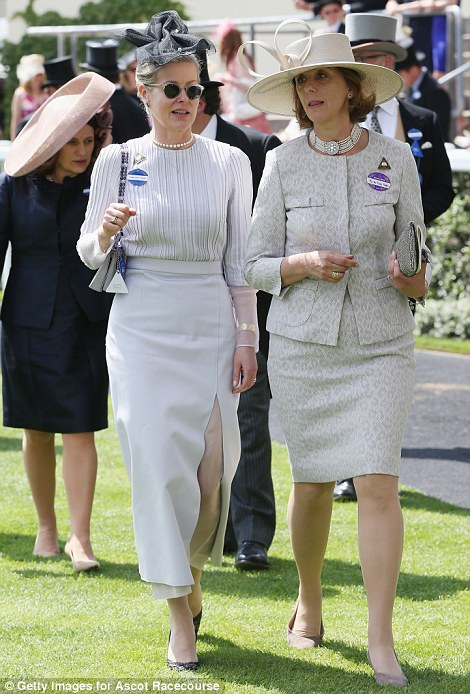 Lady Helen Taylor (left) and Lady Brooke in light grey outfit on day four of Royal Ascot 2014