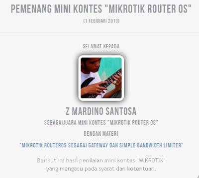 "Pemenang Mini Kontes ""Mikrotik Router OS"" 2013"