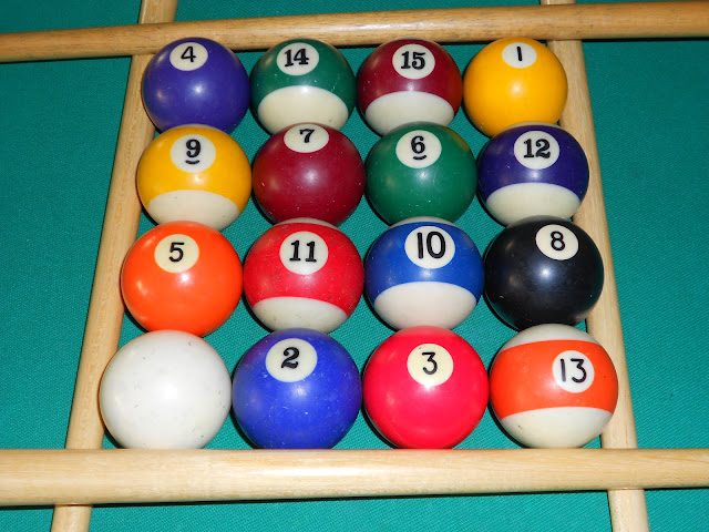 Installation of magic square 4x4 using pool balls (16 is the white ball) photo 3.