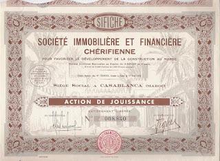 a Moroccan share of the Société Immobilière et Financière Chérifienne