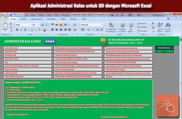 Aplikasi Administrasi Kelas untuk SD dengan Microsoft Excel