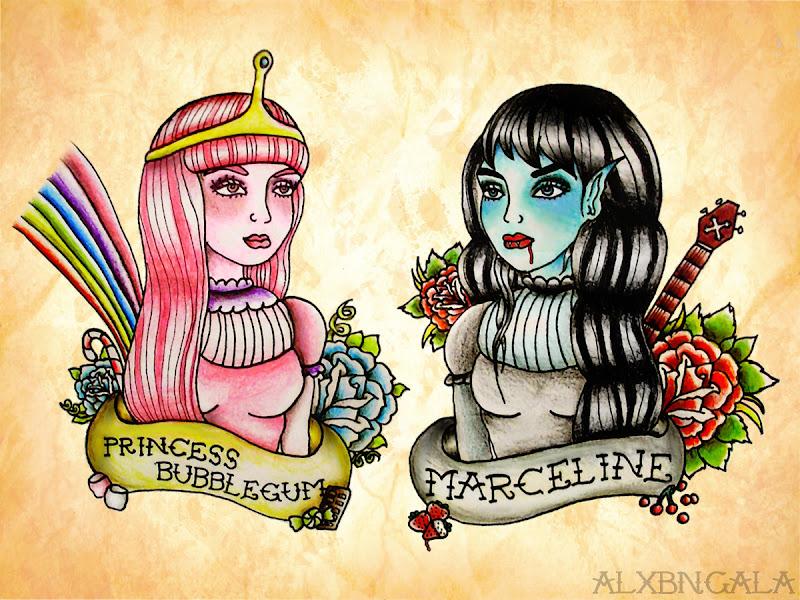 Princess Bubblegum and Marceline by:Alejandra L Manriquez. title=