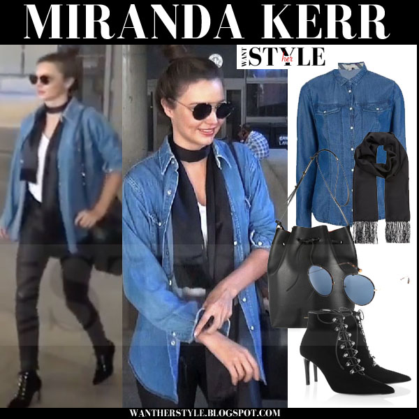 Miranda Kerr in blue denim burberry brit shirt, black leather pants with black balenciaga suede ankle boots models off duty streetstyle what she wore
