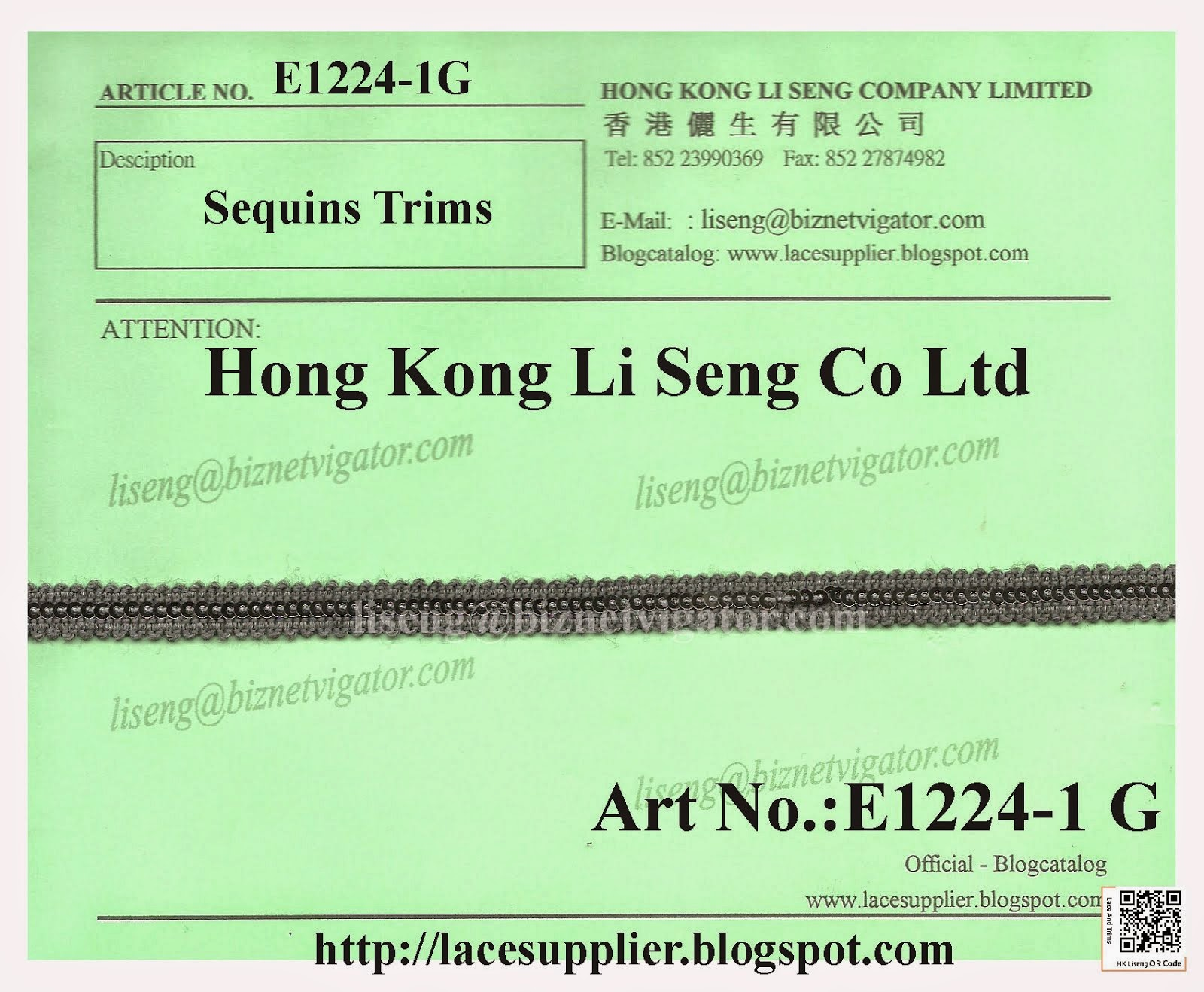 Sequins Trims Manufacturer Wholesale Supplier - Hong Kong Li Seng Co Ltd