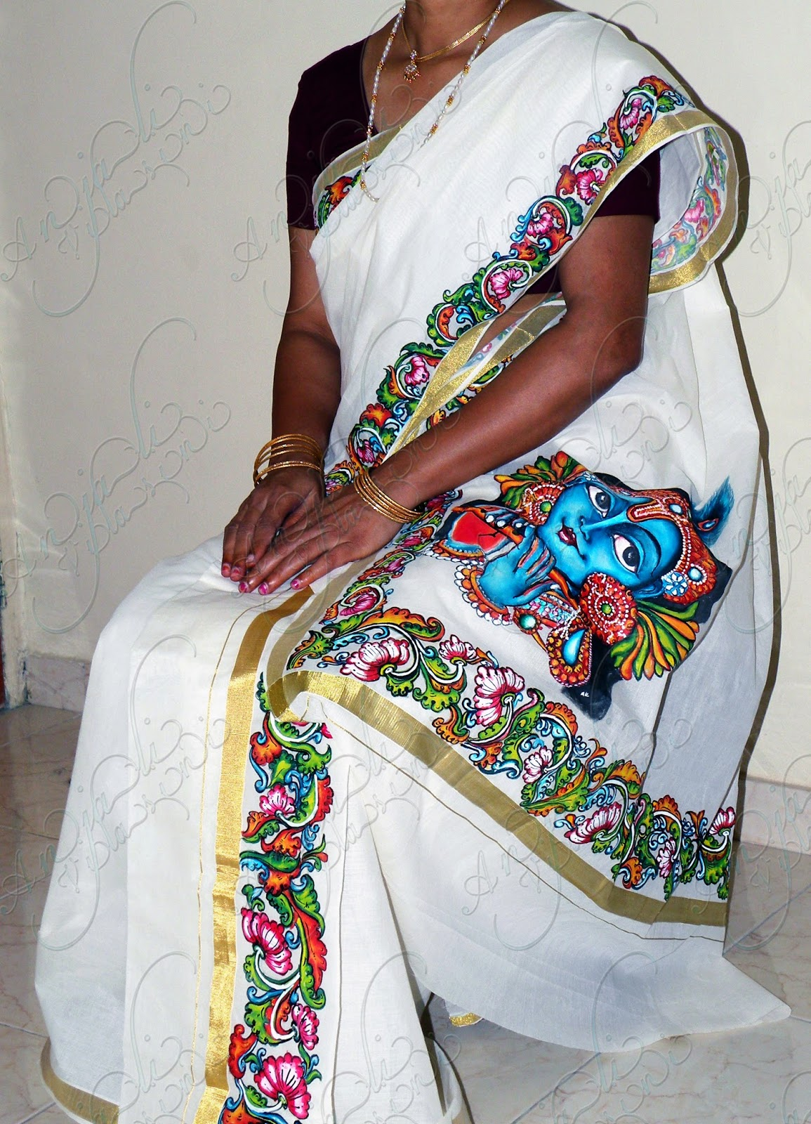 Anjali vilasini mural painted set mundu for Asha mural painting