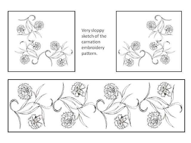 Carnation embroidery pattern