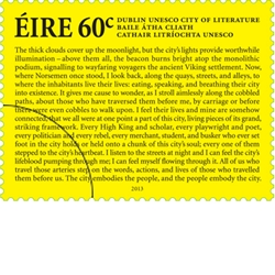 Ireland: UNESCO City of World Literature - 60c Stamp - http://www.irishstamps.ie/