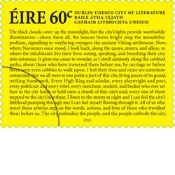 Ireland: UNESCO City of World Literature - 60c Stamp - http://www.irishstamps.ie/