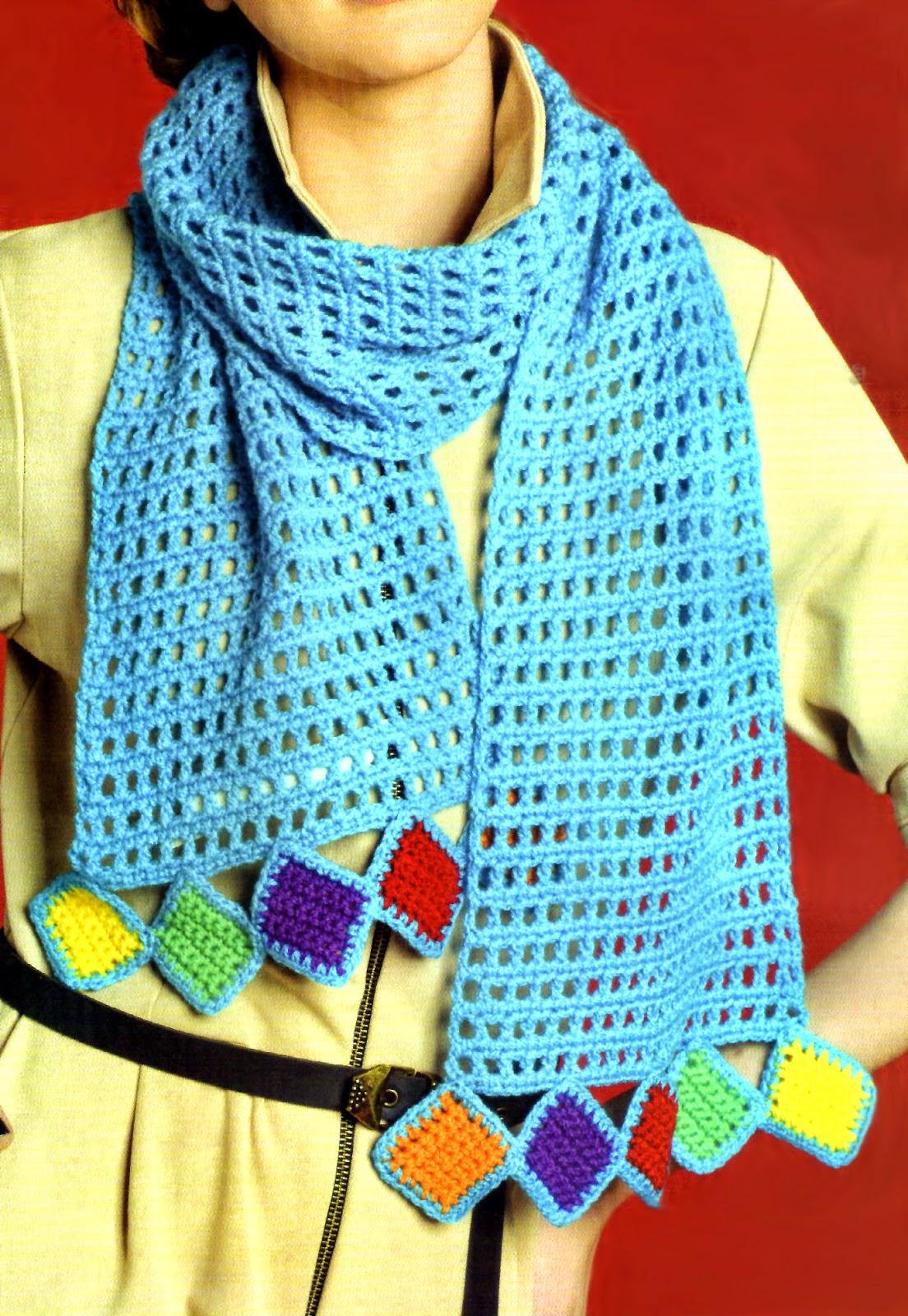 bufanda mosaico tejida en crochet