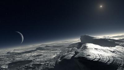 Se trata de una recreación de la superficie de Pluton Tiene una particularidad: el puntito luminoso de la parte superior derecha es El Sol.