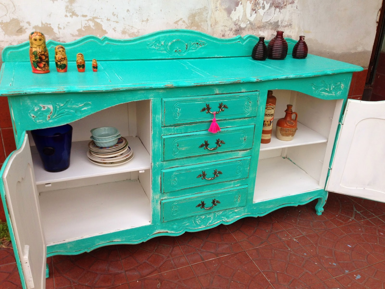 Como Pintar Madera Muebles De Colores Pintados Mimasku Com # Muebles Turquesa