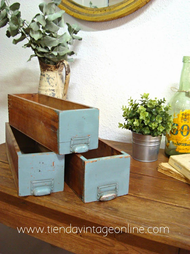 Decorar con cajas de madera antiguas
