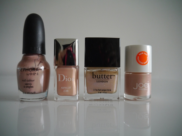 Warm shades of honey nude nail polish for Autumn/Winter 2013. Dior Vernis 'Abricot', Sephora by OPI 'Nonfat Soy Half Caff', Joe Fresh 'Rose Blossom', Butter LONDON 'Hen Party'