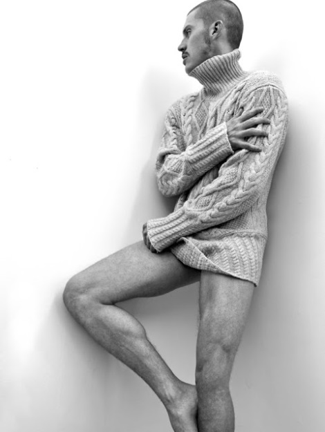 Zeb Ringle wearing a sweater and no pants
