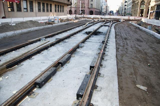 Baustelle Invalidenstraße, Gleisarbeiten, 10115 Berlin, 09.03.2014