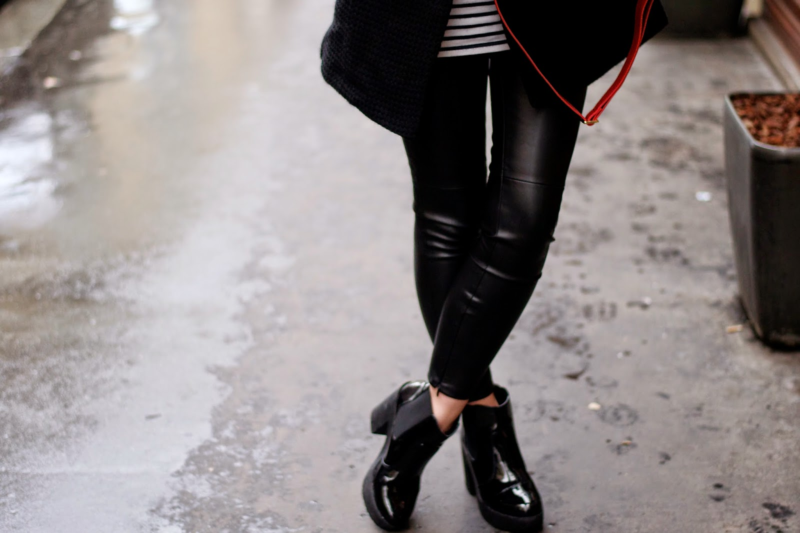 Leather leggings look