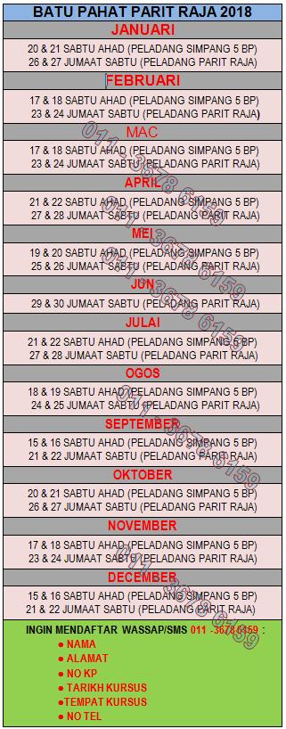 JADUAL KURSUS KAHWIN BATU PAHAT JANUARI-JULAI 2018