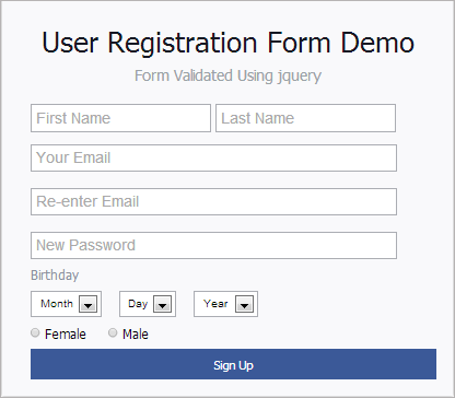 Registration form validation using jquery with example ~ Web ...
