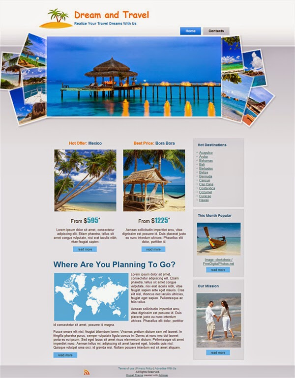 Dream And Travel - Free Drupal Theme