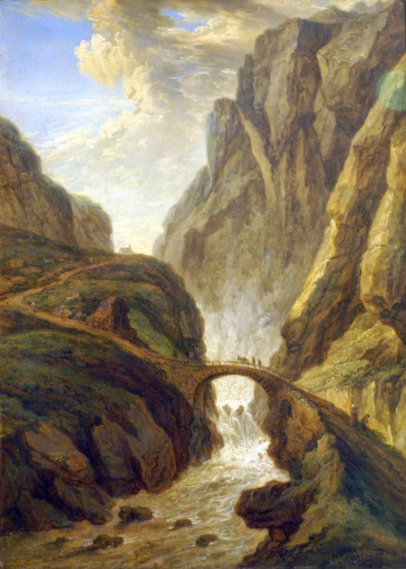 Christian Georg Schütz d. Ä., Teufelsbrücke auf der St. Gotthardstraße (Devil's Bridge at the St. Gotthard road) Christian Georg Schütz der Ältere (Flörsheim am Main 1718 - Frankfurt am Main 1791) Teufelsbrücke auf der St. Gotthardstraße (1781).
