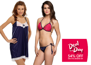 Buy 3 Pcs Set Of Bra ( Panty And Night Slip In Navy) At Rs. 599 only