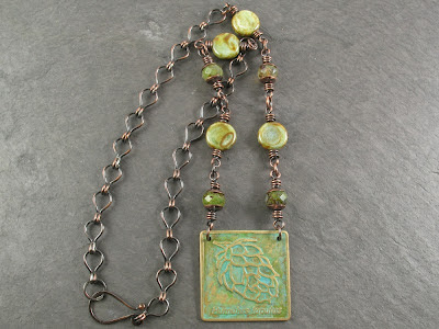 handmade etched brass & copper necklace