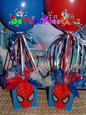 Centro De Mesa Alto  Con Spiderman Sentado En La Parte Superior