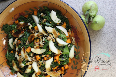Autumn Greens with Roasted Sweet Potatoes & Pears