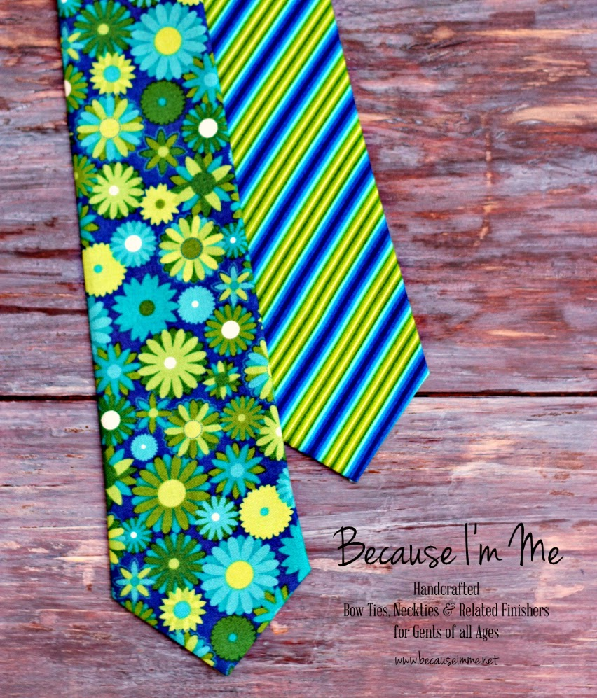 Because I'm Me blue and green floral and striped neck and bow ties for men and boys