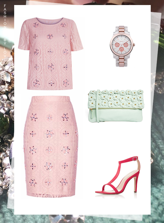 Designer look for less inspired by Burberry Prorsum Spring 2014 collection | Burberry pink lace skirt and top, Burberry Prorsum vinyl and leather sandals and the petal bag